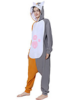 cheap -Adults' Kigurumi Pajamas Cat Onesie Pajamas Flannelette Gray Cosplay For Men and Women Animal Sleepwear Cartoon Festival / Holiday Costumes
