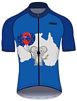 abordables -21Grams Homme Manches Courtes Maillot Velo Cyclisme 100 % Polyester Bleu / blanc Cyclisme Maillot Hauts / Top VTT Vélo tout terrain Vélo Route Résistant aux UV Respirable Séchage rapide Des sports