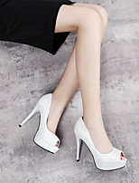 cheap -Women's Heels Stiletto Heel Round Toe PU Booties / Ankle Boots Spring & Summer White / Pink