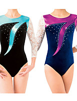 cheap -21Grams Rhythmic Gymnastics Leotards Artistic Gymnastics Leotards Women's Girls' Leotard Purple Spandex High Elasticity Handmade Jeweled Diamond Look Long Sleeve Competition Dance Rhythmic Gymnastics