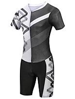 cheap -21Grams Men's Short Sleeve Triathlon Tri Suit Black / White Stripes Bike Clothing Suit UV Resistant Breathable Quick Dry Sweat-wicking Sports Stripes Mountain Bike MTB Road Bike Cycling Clothing