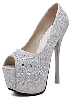cheap -Women's Heels Stiletto Heel Peep Toe Rhinestone Synthetics Sweet / British Summer / Spring & Summer Black / Silver / Party & Evening
