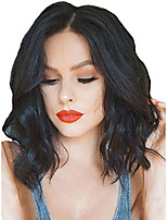 cheap -Synthetic Lace Front Wig Wavy Middle Part Lace Front Wig Short Natural Black Synthetic Hair 18-26 inch Women's Cosplay Soft Adjustable Black