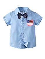 cheap -Kids Toddler Boys' Basic Street chic Flag Short Sleeve Shirt Blue