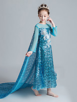 cheap -Elsa Dress Girls' Movie Cosplay Cosplay Halloween Blue Dress Halloween Carnival Masquerade Tulle Polyester Sequin