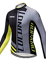 cheap -21Grams Men's Long Sleeve Cycling Jersey Winter 100% Polyester Black / Yellow Geometic Bike Jersey Top Mountain Bike MTB Road Bike Cycling Thermal / Warm UV Resistant Breathable Sports Clothing