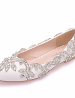 cheap -Women's Wedding Shoes Crystal Sandals Flat Heel Pointed Toe PU Spring & Summer White
