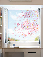 cheap -Pink Flowers Pattern Matte Window Film Vinyl Removable Private Home Decor / Door Sticker / Window Sticker