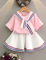 cheap -Kids Girls' Basic Plaid Short Sleeve Clothing Set Blushing Pink