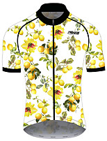 cheap -21Grams Women's Short Sleeve Cycling Jersey 100% Polyester Yellow Fruit Lemon Bike Jersey Top Mountain Bike MTB Road Bike Cycling UV Resistant Breathable Quick Dry Sports Clothing Apparel / Stretchy