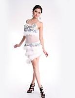 abordables -Danse latine Robes Femme Utilisation Polyester Paillette Robe