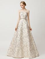 cheap -A-Line Beautiful Back Luxurious Wedding Guest Formal Evening Dress Sweetheart Neckline Sleeveless Floor Length Satin with Sash / Ribbon Beading 2020