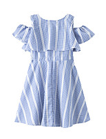 cheap -Kids Girls' Active Cute Check Ruffle Short Sleeve Above Knee Dress Blue