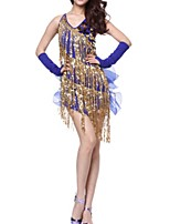 cheap -Latin Dance Dresses Women's Performance Polyester Tassel / Paillette Dress