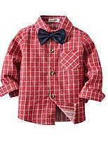 cheap -Kids Toddler Boys' Basic Street chic Houndstooth Long Sleeve Shirt Fuchsia