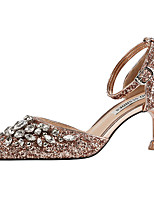 cheap -Women's Wedding Shoes Glitter Crystal Sequined Jeweled Spool Heel Pointed Toe Rhinestone / Sequin Synthetics Sweet / British Fall / Spring & Summer Wine / Pink / Champagne / Party & Evening