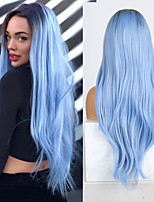 cheap -Synthetic Lace Front Wig Straight Middle Part Lace Front Wig Long Ombre Blue Synthetic Hair 18-26 inch Women's Soft Adjustable Party Blue Ombre
