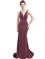 cheap -Mermaid / Trumpet V Neck Sweep / Brush Train Spandex Elegant Engagement / Formal Evening Dress 2020 with Sequin