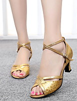 cheap -Women's Latin Shoes Suede Heel Cuban Heel Dance Shoes Gold / Silver