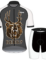 cheap -21Grams Men's Short Sleeve Cycling Jersey with Shorts Black / White Oktoberfest Beer Bike Clothing Suit UV Resistant Breathable Quick Dry Sweat-wicking Sports Oktoberfest Beer Mountain Bike MTB Road