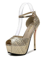cheap -Women's Heels Stiletto Heel Peep Toe Synthetics Sweet / British Summer / Spring & Summer Black / Gold / Silver / Party & Evening