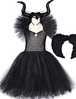 cheap -Maleficent Costumes Girls Black Tutu Dress with Horns Wings V-Neck Crystal Evil Queen Witch Dresses Kids Halloween Cosplay Wear