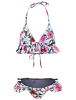 cheap -Women's Basic Blushing Pink Bandeau Cheeky High Waist Bikini Swimwear - Floral Geometric Lace up Print S M L Blushing Pink