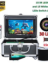 cheap -F7AS-2L-15M 7inch Fish Finder Underwater Fishing Camera  15pcs White LEDs15pcs Infrared Lamp 1080P 15M Camera For  Ice Fishing