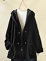 cheap -Women's Daily Winter Regular Coat, Solid Colored Hooded Long Sleeve Polyester Black