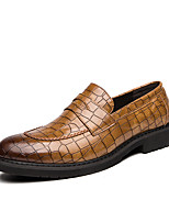cheap -Men's Fashion Boots Rubber Spring & Summer Casual / British Loafers & Slip-Ons Walking Shoes Breathable Black / Brown