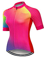 cheap -21Grams Women's Short Sleeve Cycling Jersey 100% Polyester Pink Geometic Bike Jersey Top Mountain Bike MTB Road Bike Cycling UV Resistant Breathable Quick Dry Sports Clothing Apparel / Stretchy