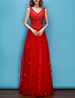 cheap -A-Line V Neck Sweep / Brush Train Polyester Floral / Red Engagement / Formal Evening Dress with Appliques / Crystals 2020