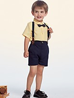 cheap -Kids Boys' Basic Color Block Short Sleeve Clothing Set Yellow