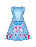 cheap -Kids Toddler Girls' Basic Cute The Little Mermaid Color Block Print Sleeveless Knee-length Dress Blue
