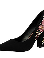 cheap -Women's Heels Chunky Heel Pointed Toe Suede Winter Black / Light Green / Red