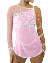 cheap -Figure Skating Dress Women's Girls' Ice Skating Dress Pink Patchwork Spandex High Elasticity Training Competition Skating Wear Crystal / Rhinestone Long Sleeve Ice Skating Figure Skating