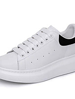 cheap -Men's Comfort Shoes Cowhide Spring / Fall Sporty / Preppy Sneakers Non-slipping Black / White / Silver
