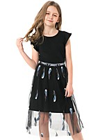cheap -Kids Girls' Geometric Dress Black