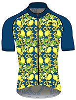 cheap -21Grams Men's Short Sleeve Cycling Jersey 100% Polyester Blue+Yellow Fruit Lemon Bike Jersey Top Mountain Bike MTB Road Bike Cycling UV Resistant Breathable Quick Dry Sports Clothing Apparel
