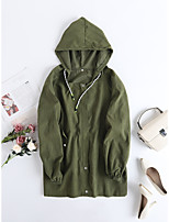cheap -Women's Holiday / Going out Basic Fall & Winter Regular Coat, Solid Colored Sun Flower Turndown Long Sleeve Faux Linen Print Army Green