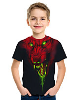 cheap -Kids Boys' Active Street chic 3D Animal Print Short Sleeve Tee Black