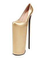 cheap -Women's Heels Stiletto Heel Round Toe Microfiber Classic Spring & Summer Gold / Silver / Wedding / Party & Evening
