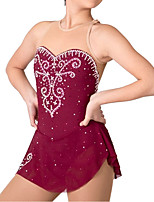 cheap -Figure Skating Dress Women's Girls' Ice Skating Dress Burgundy Patchwork Spandex High Elasticity Training Competition Skating Wear Crystal / Rhinestone Sleeveless Ice Skating Figure Skating