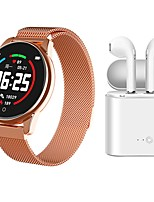 abordables -Indear Watch 4 femmes bracelet intelligent smartwatch bt équipement de fitness moniteur étanche avec tws bluetooth sans fil casque musique écouteurs pour android samsung / huawei / xiaomi ios