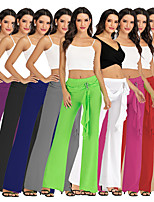 cheap -Women's Yoga Pants Wide Leg Drawstring Solid Color Black Apricot White Purple Green Cotton Dance Fitness Gym Workout Bottoms Sport Activewear Breathable Quick Dry Soft Loose