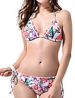 cheap -Women's Basic Blushing Pink Triangle Cheeky Tie Side Bikini Tankini Swimwear - Striped Animal Print S M L Blushing Pink