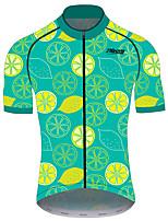 cheap -21Grams Men's Short Sleeve Cycling Jersey 100% Polyester Green / Black Fruit Lemon Bike Jersey Top Mountain Bike MTB Road Bike Cycling UV Resistant Breathable Quick Dry Sports Clothing Apparel