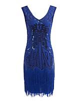 cheap -Dance Costumes 1920s / The Great Gatsby / Flapper Dress Women's Performance Terylene Tassel / Paillette Sleeveless Dress