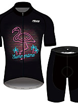 cheap -21Grams Men's Short Sleeve Cycling Jersey with Shorts Black Flamingo Bike Clothing Suit Breathable 3D Pad Quick Dry Reflective Strips Sweat-wicking Sports Flamingo Mountain Bike MTB Road Bike Cycling