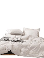 cheap -Duvet Cover Sets 4 Piece Cotton Solid Colored White Applique Contemporary